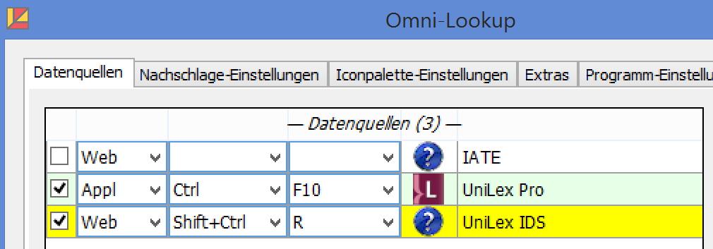 OmniLookup Einstellungen