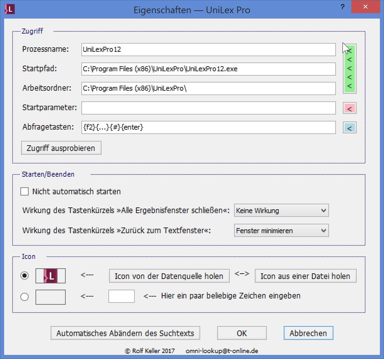 Nachschlagen in UniLex Pro aus OmniLookup heraus