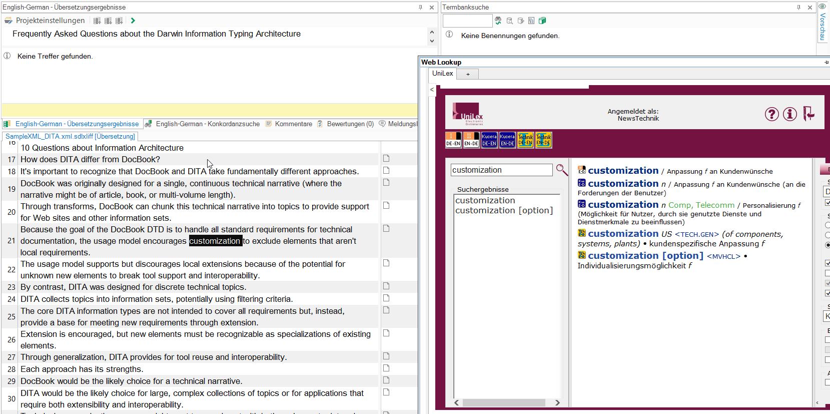 Nachschlagen aus SDL Web Lookup heraus